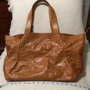 Soft brown leather tote bag